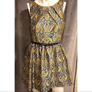 Single Los Angeles Navy and Gold Brocade Dress